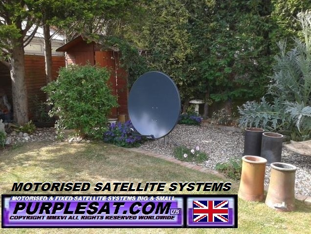 MOTORISED SATELLITE SYSTEM TUCKED AWAY IN THE GARDEN- even better painted green