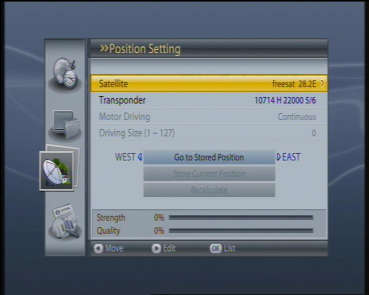 DISEQC 1.2 POSITIONER SCREEN/ MENU